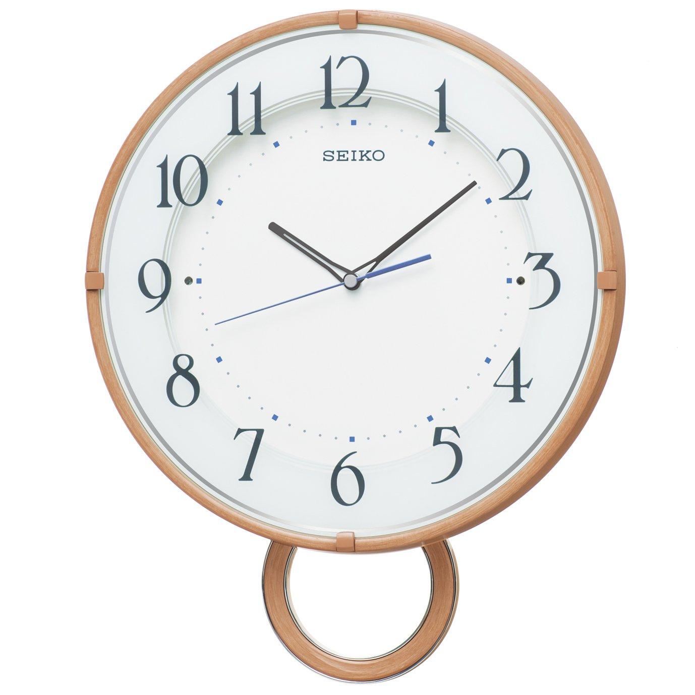 セイコー クロック 掛け時計 電波 アナログ 飾り振り子 薄茶 木目 模様 PH206A SEIKO B01B12S0P2 ブラウン ブラウン