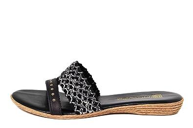 GAGLIANI RENZO Damen - GR040_Nero_Multi - Sandale - Synthetik - Hergestellt in Italien