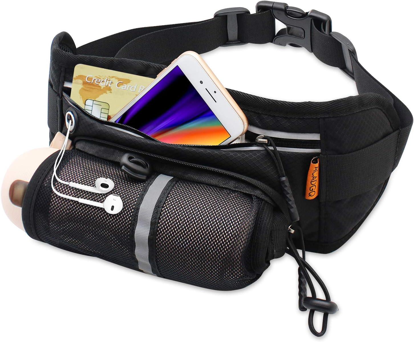 ACADGQ Fanny Pack for Women and Men Waterproof Running Belt Waist Pack with Water Bottle Holder-Black