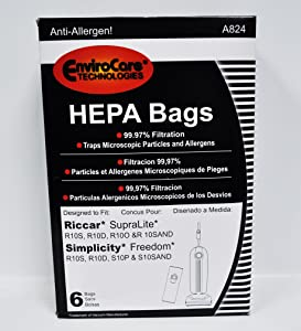 EnviroCare Riccar SupraLite and Simplicity Freedom HEPA Vacuum Bags A824, White
