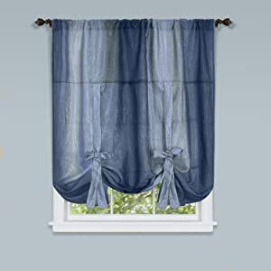 """Achim Home Furnishings Ombre Tie up Shade Window Curtain, 50"""" x 63"""", Blue"""