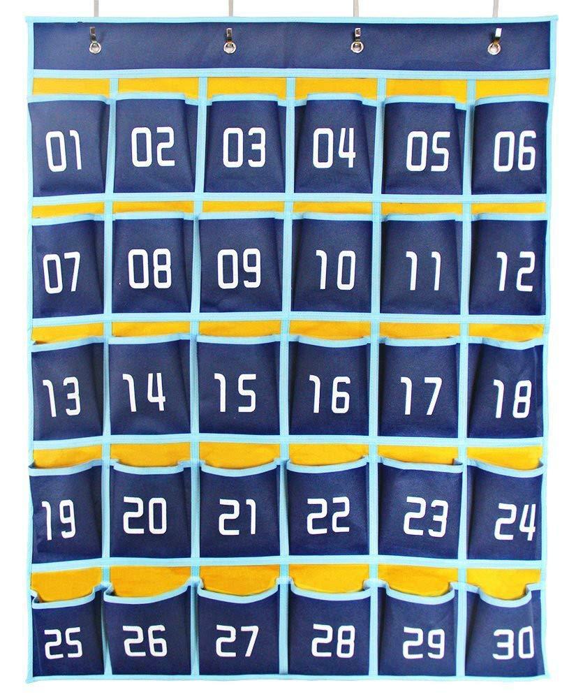 Numbered Classroom Pocket Chart Hanging Calculator Pocket Holder Cell Phone Charging Organizer (30 Pockets)
