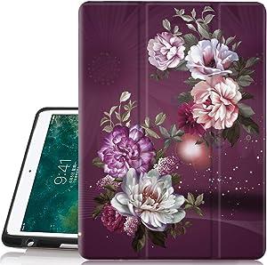 iPad Pro 12.9 2017/2015 Case, Hocase Folio Smart Case with Pencil Holder, Unique Design, Auto Sleep/Wake Feature, Soft TPU Back Cover for iPad Pro 12.9 1st&2nd Generation 2015&2017 - Burgundy Flowers