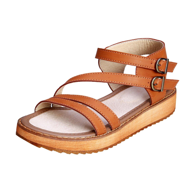 Smilun Women's Platform Flip Flops Thongs Sandals Peep Toe Flat Sandals Upper Cross Strap Open Toe Thong Wedge Sandals Brown US9