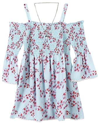 a1cca47b1fddfd Amazon.com  Speechless Girls  Big Cold Shoulder Top with Smocking ...