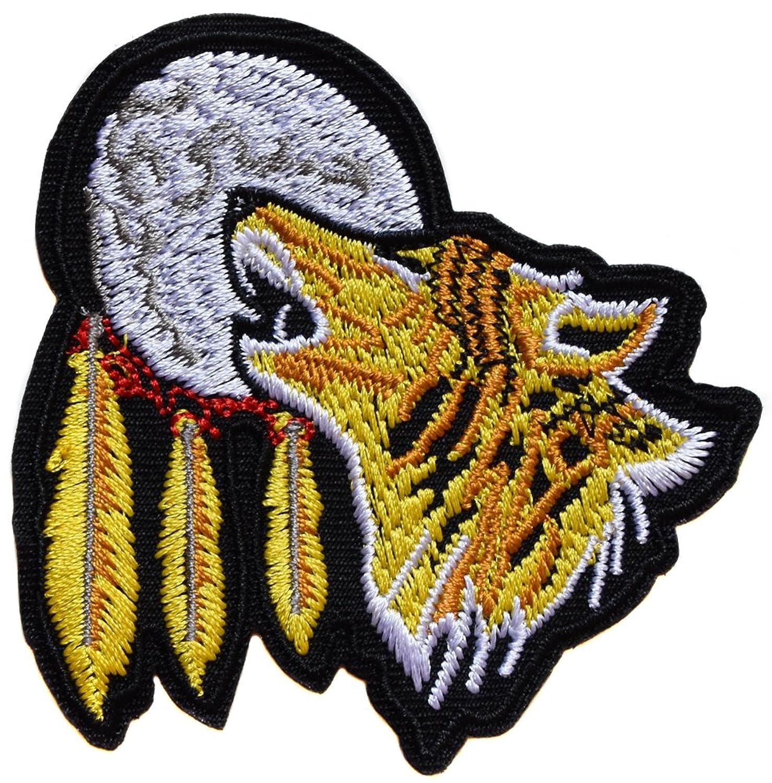 ecusson loup indien lune us usa moto biker plume thermocollant 8x8cm patche badge