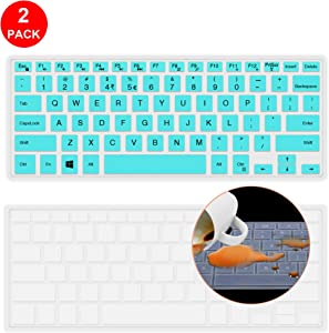 [2 Pcs] Lapogy Keyboard Cover Skin for Dell 2019 Inspiron 14 inch 5000 Series 5482/5481(2 in 1),Dell Inspiron 14 i5379 i5482 i5481 i5485,Ultra Thin Silicone Keyboard Protector Skin Cover (Mint)