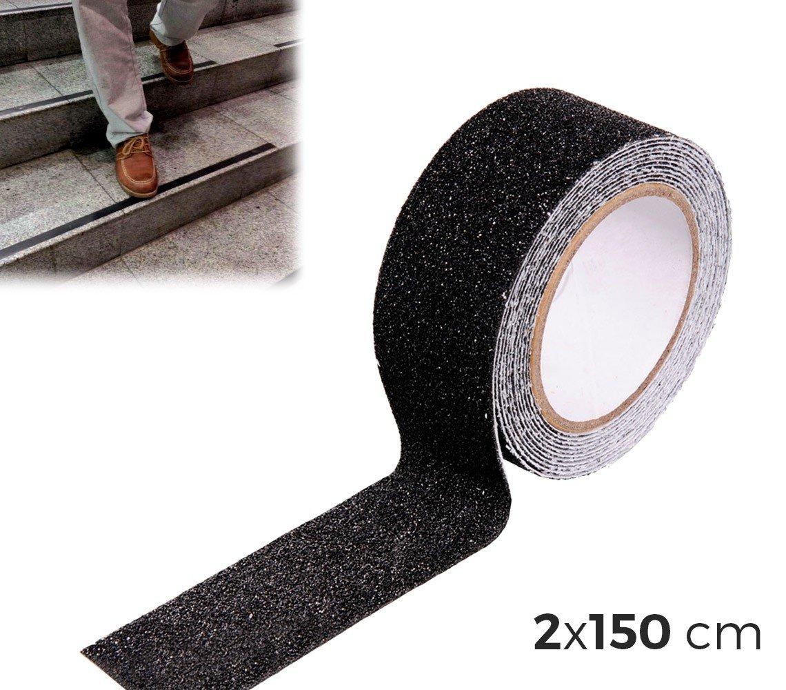 749345 Pack de 8 bandes anti-dérapantes noires pour marches d'escalier 2x150cm. MEDIA WAVE store ® MEDIA WAVE store ®