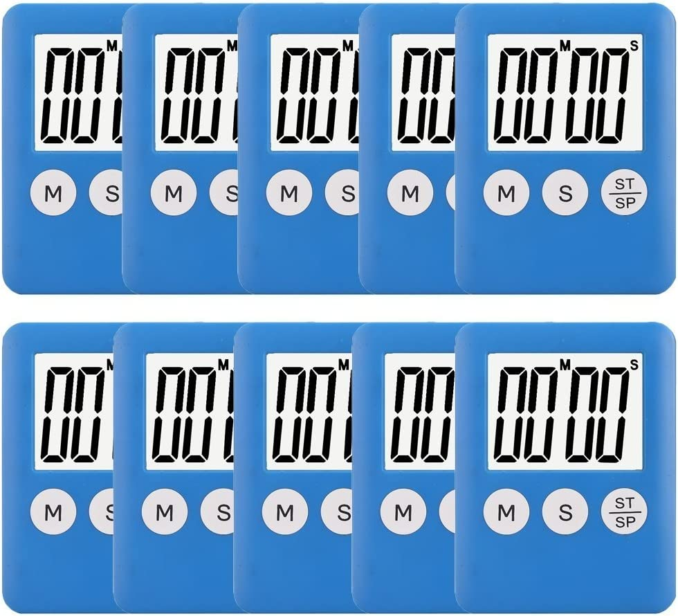 10 Pack Small Digital Kitchen Timer Magnetic Countdown Up Minute Second Timer
