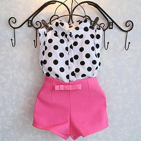 Conjunto de ropa para niñas sin mangas con camiseta y lazo para pantalones cortos para niños