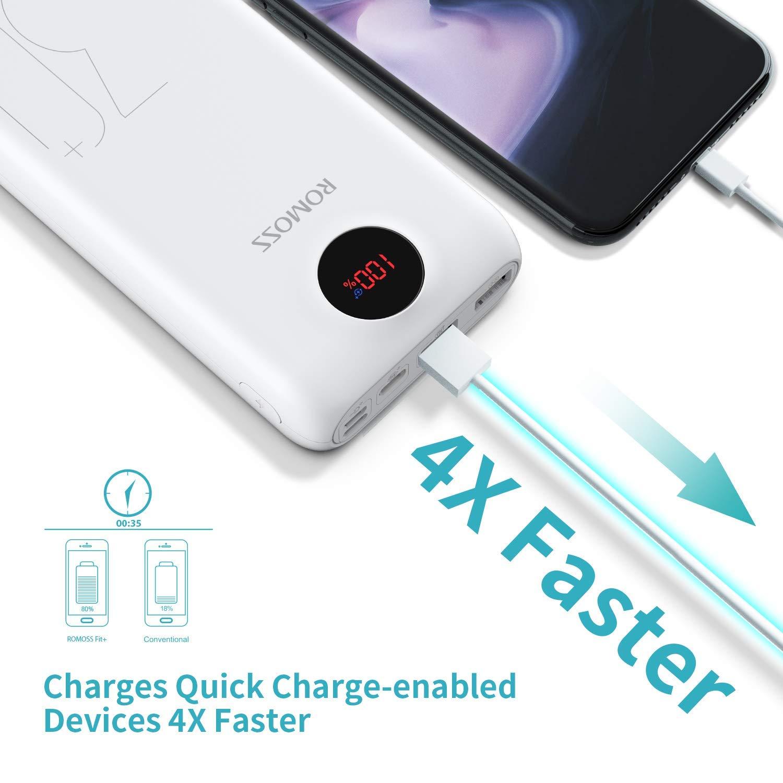 Tabletas y Otros Dispositivos Blanco Romoss 20000mAh Cargador Port/átiles LED 2-Salidas USB Bateria Externa para la Mayor/ía de los Tel/éfonos Inteligentes Smartphone