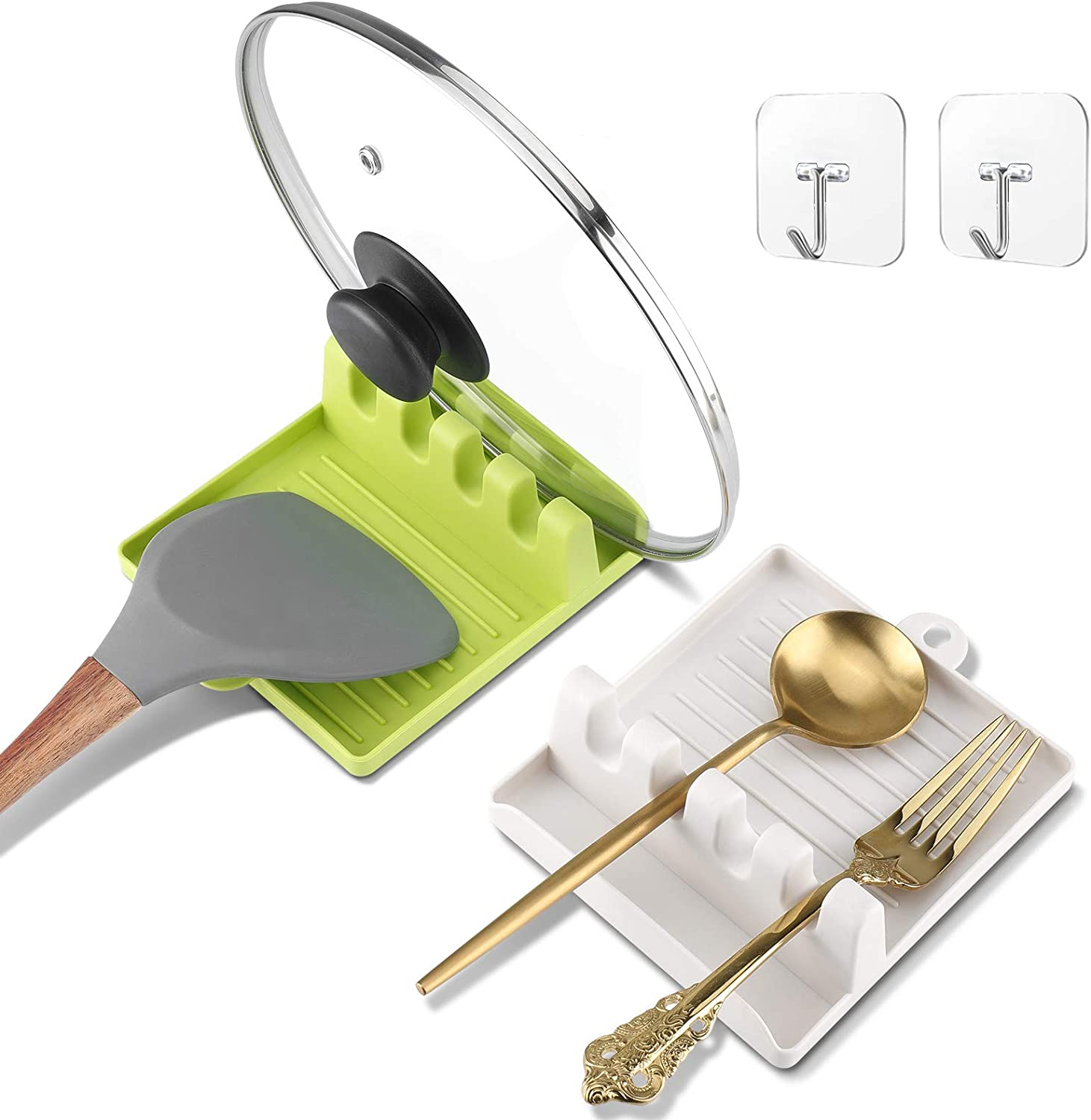Spoon Rest For Stove Top With Drip Pad(Two Pack) - Kitchen Utensil Holder For Spoons, Food Safe Spoon Rest & Utensil Holder For Counter Top, Spoons, Ladles, Tongs
