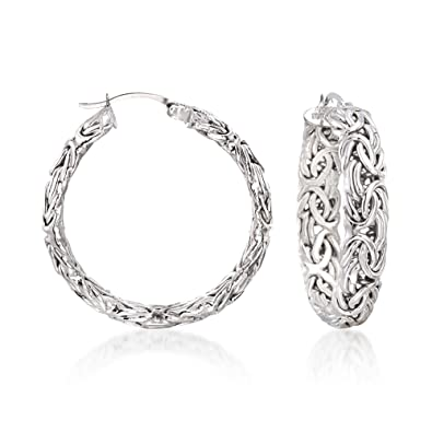 2b4051062 Image Unavailable. Image not available for. Color: Ross-Simons Sterling  Silver Medium Byzantine Hoop Earrings