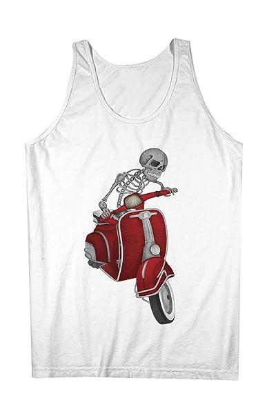 Vespa Skull Scooter Hombres Camiseta de tirantes Tank Top Blanco XX-Large: Amazon.es: Ropa y accesorios
