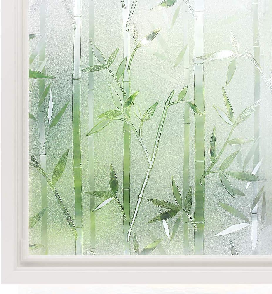 Amazon De Rabbitgoo 3d Statisch Haftende Fensterfolie Bambus