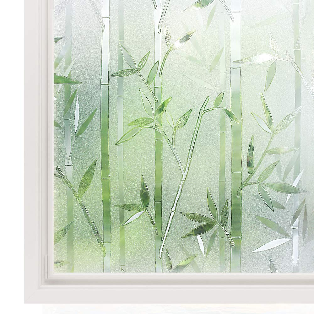 Rabbitgoo Window Film 3D Decorative Glass Film, No Glue Privacy Frosted Film for Home Office, Anti-UV Window Sticker, Reusable Static Cling Window Decals, Bamboo Pattern, 23.6 x 78.7 inches by Rabbitgoo