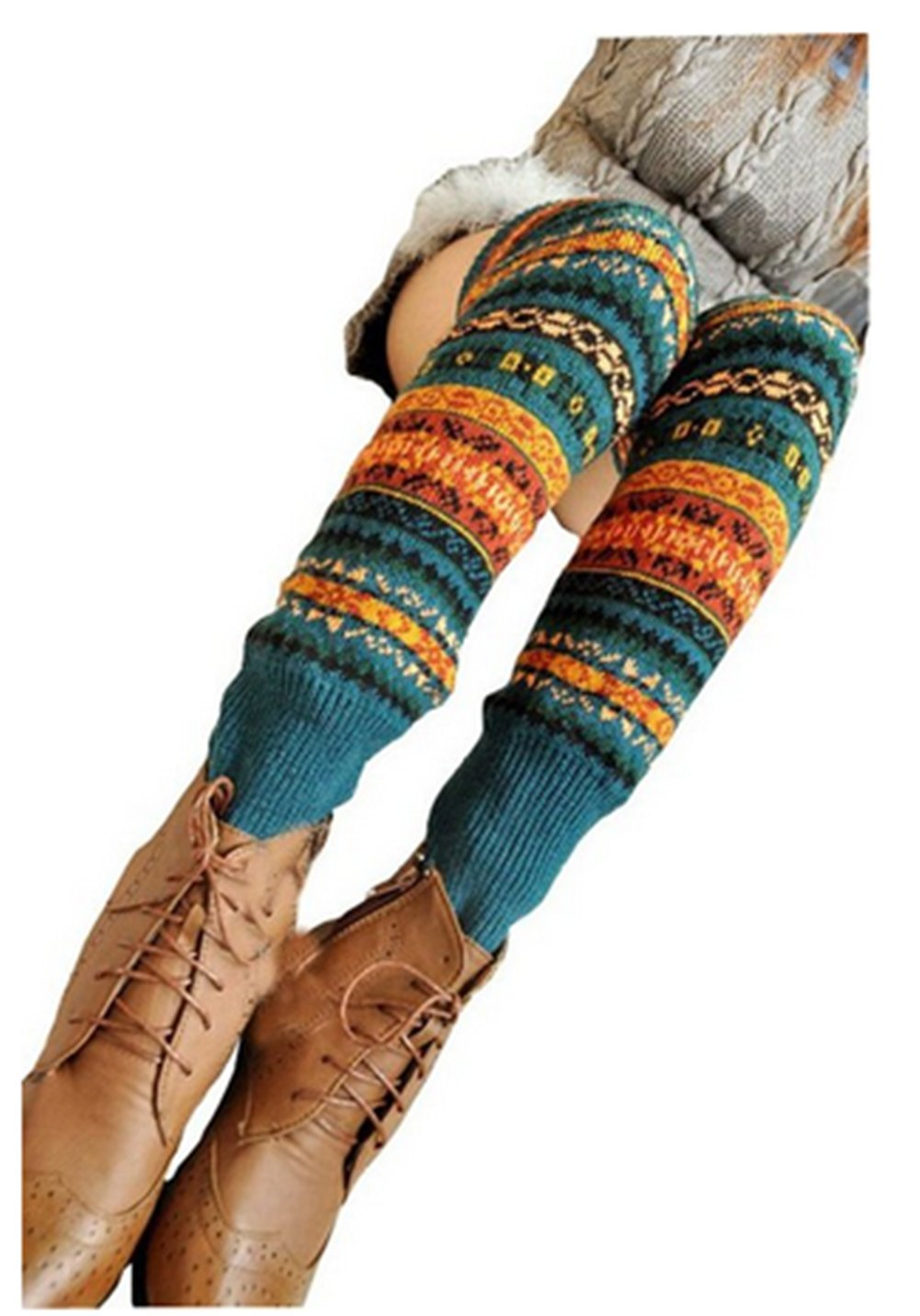 Women Fashion Winter Bohemian High Leg Knit Crochet Leg Warmers (Blue)