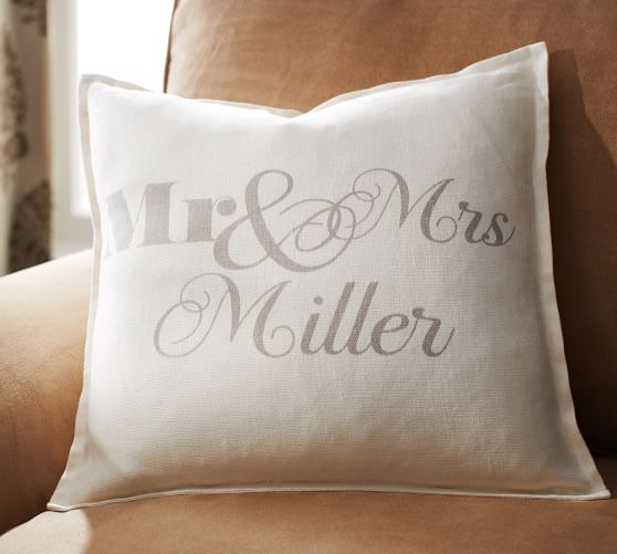Personalized Mr. & Mrs. Pillow Cover | Pottery Barn
