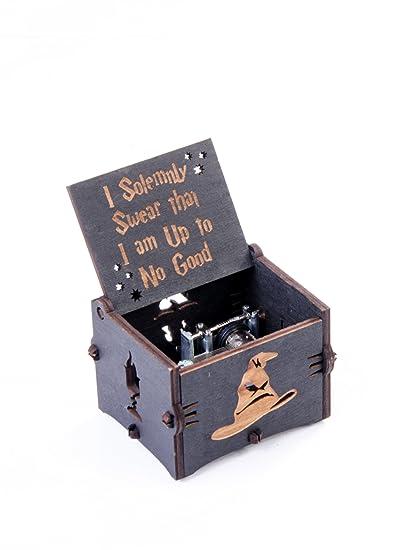 Tema de Hedwig de Harry Potter personalizado Magic Hogwarts de madera caja de música mano Cranked