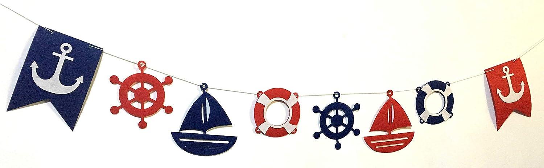 Anchor Nautical Banner Pennant 24 pcs Cupcake Decorations Ocean Adventure Party Supplies for Boys Kids Alemon