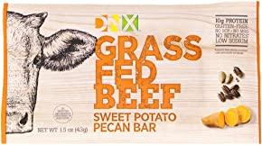 DNX Bar-Grass Fed Beef Whole Food Protein Bar Whole30 Approved,-Sweet Potato Pecan - Organic Fruits and Veggies, Gluten Free, Non-GMO, No Dairy, Paleo Meat Bar. Truly Epic Taste (8 Bars) …