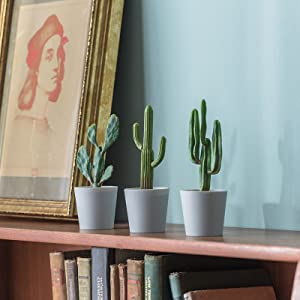 Hejdeco Artificial Cactus Plants Set of 3, Assorted Fake Cactus, Small Faux Cactus Decor for Home Office Kitchen Bathroom (Grey)