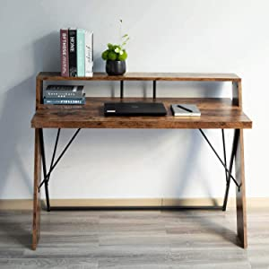 """IRONCK Industrial Computer Desk 47"""", Office Desk with Shelf, with Thicker Tabletop and Diagonal Wood Legs, Studying Writing Table for Home Office"""