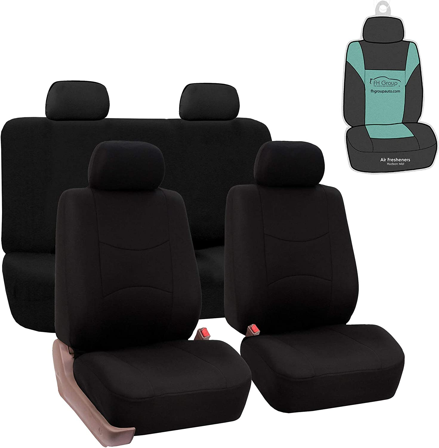or Van Truck Universal Car FH Group FB032115 Unique Flat Cloth Seat Covers Red//Black with Gift SUV