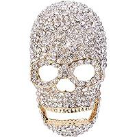 EVER FAITH Austrian Crystal Gorgeous Halloween Skull Bone Brooch Pin Clear