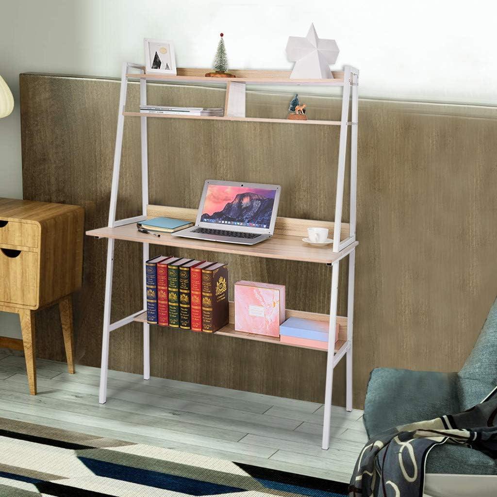 Gottifusion Laptop Study Table Household Writing Desk with Desktop Display Shelves & Bottom Storage Shelves Home Office Learning Workstation for Teens Adults,Student Writing Desktop Desk (Khaki)