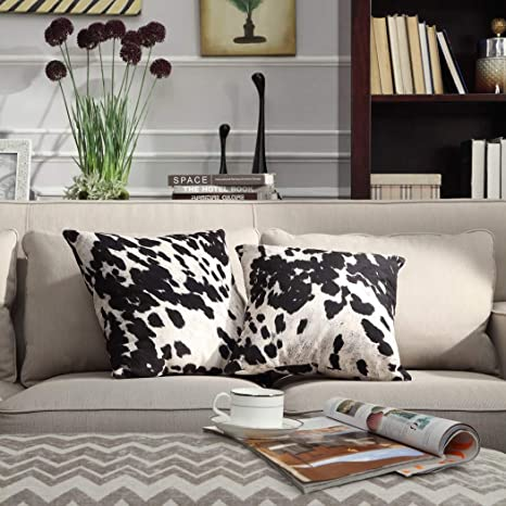 Enjoyable Ds 2 Piece Black White Cow Theme Decorative Throw Pillows Set 18 Inch Beautiful Sporting Cowhide Animal Pattern Indoor Sofa Couch Pillow Rustic Andrewgaddart Wooden Chair Designs For Living Room Andrewgaddartcom