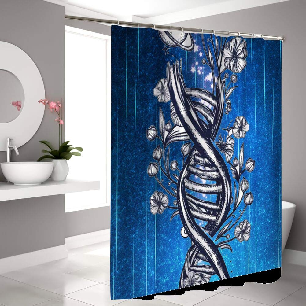 Masa FF Store Bathroom Decorative Polyester Fabric Waterproof Shower Curtain DNA Theme Design Fabric Bathroom Decor Set with Hooks 72inch72inch