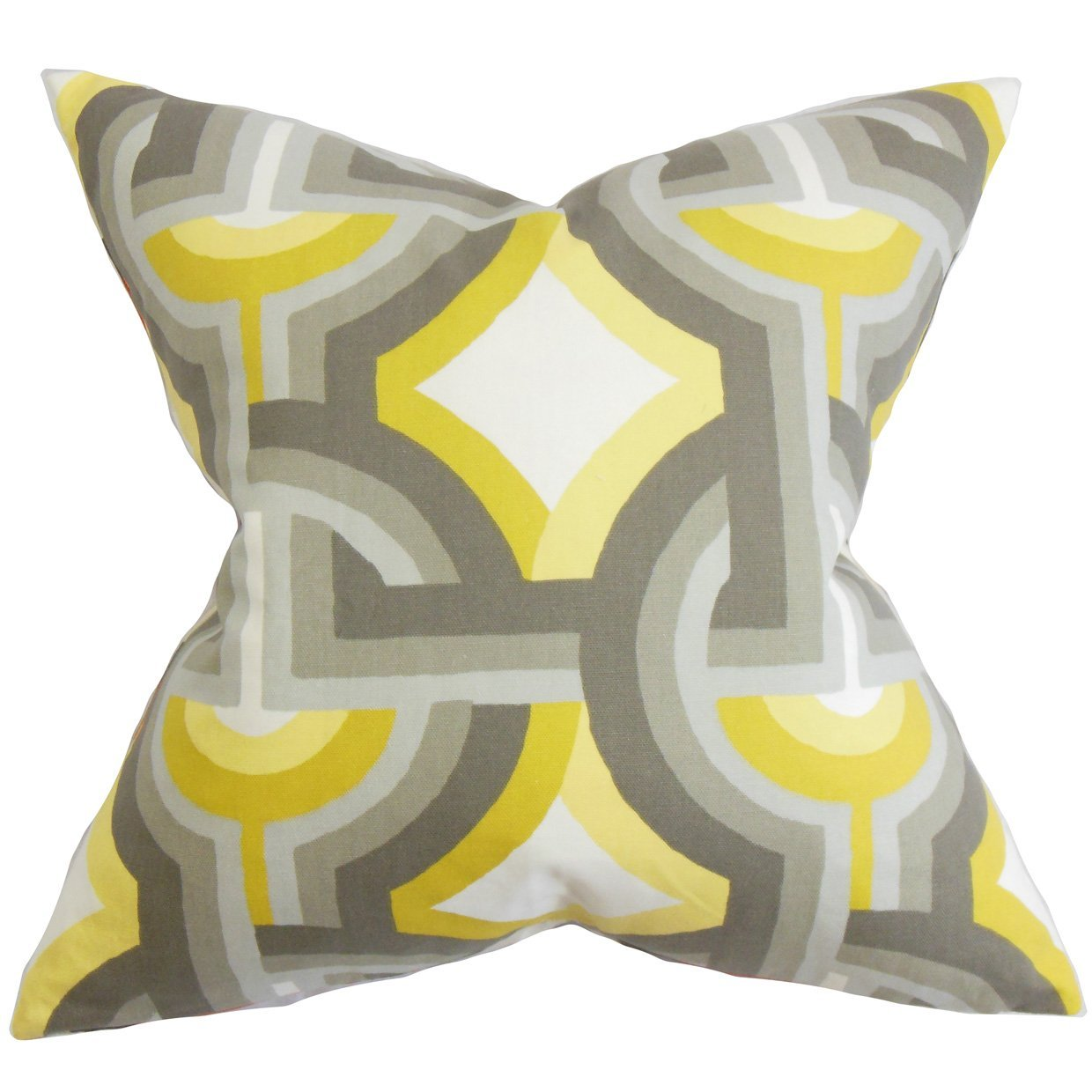 The Pillow Collection Rineke Geometric Bedding Sham Gray Yellow Standard//20 x 26,