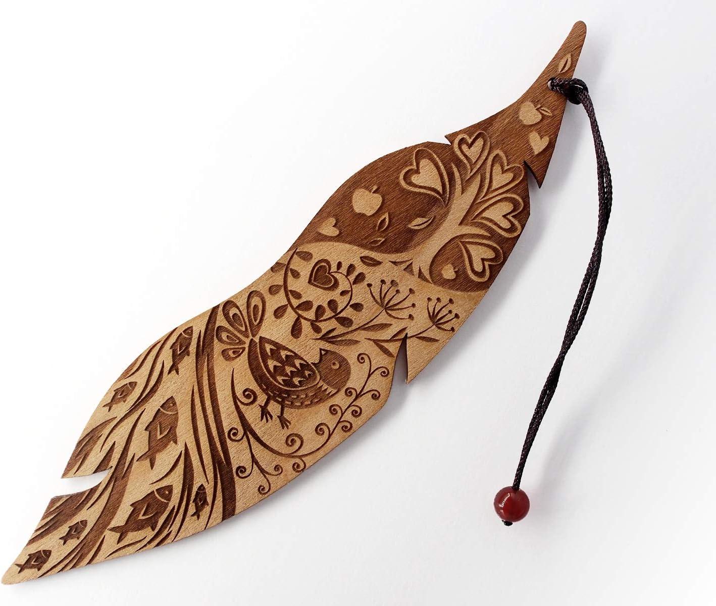 Lesezeichen aus Holz MinaturArt Vogel im Garten