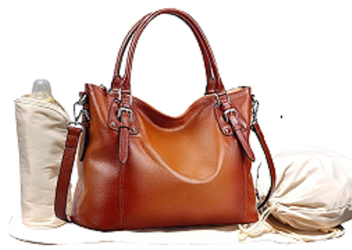 Leather Diaper Bag, Cross Body Tote Diaper Bag, Baby Changing Pad, Insulated Bottle Holder, Drawstring Sac, Stroller Straps