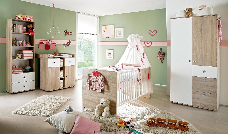 Babyzimmer Komplettset / Kinderzimmer komplett Set WIKI 3 in Eiche Sonoma Weiß