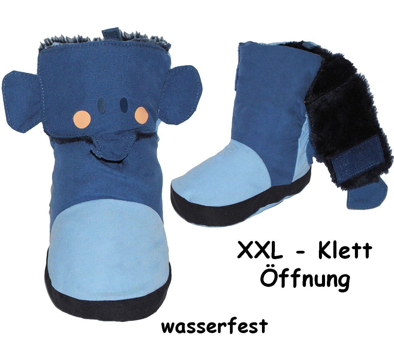 Fleece gef/üttert /Überziehschuhe // Lauflernschuhe Elefant Name alles-meine.de GmbH Thermo incl 17-18 Gr/ö/ße: 3 bis 6 Monate // Gr mit langem Schaft /& Klet.. blau
