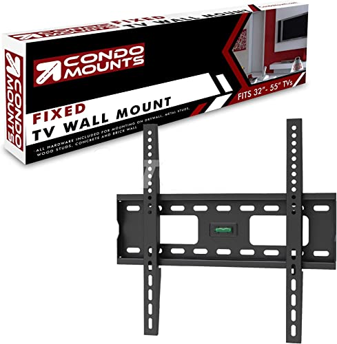 Fixed TV Mount for Steel Stud, No Stud, Hollow Wall, Wood, Concrete, Brick Universal Bracket for 32 to 55 Inch TV s. Includes Metal Steel Stud Heavy Duty Drywall Anchors. Low Profile.