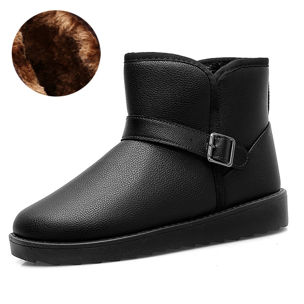 Warm winter snow boots boots with thick cotton padded shoes boots Martin cashmere high waterproof boots cotton for bread,41 black