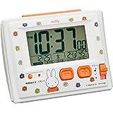 ミッフィー 目覚まし時計 電波時計 温度・湿度計付き 白 リズム時計 R126 8RZ126MM03