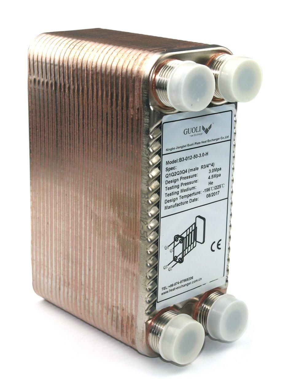 Scambiatore di calore a piastre saldobrasate a 50 piastre e raffreddatore a mosto, 50 piastre Refrigeratore a spina di mosto R 3/4'X 4 50 piastre Refrigeratore a spina di mosto R 3/4X 4 GUOLI B3-012-50-Model