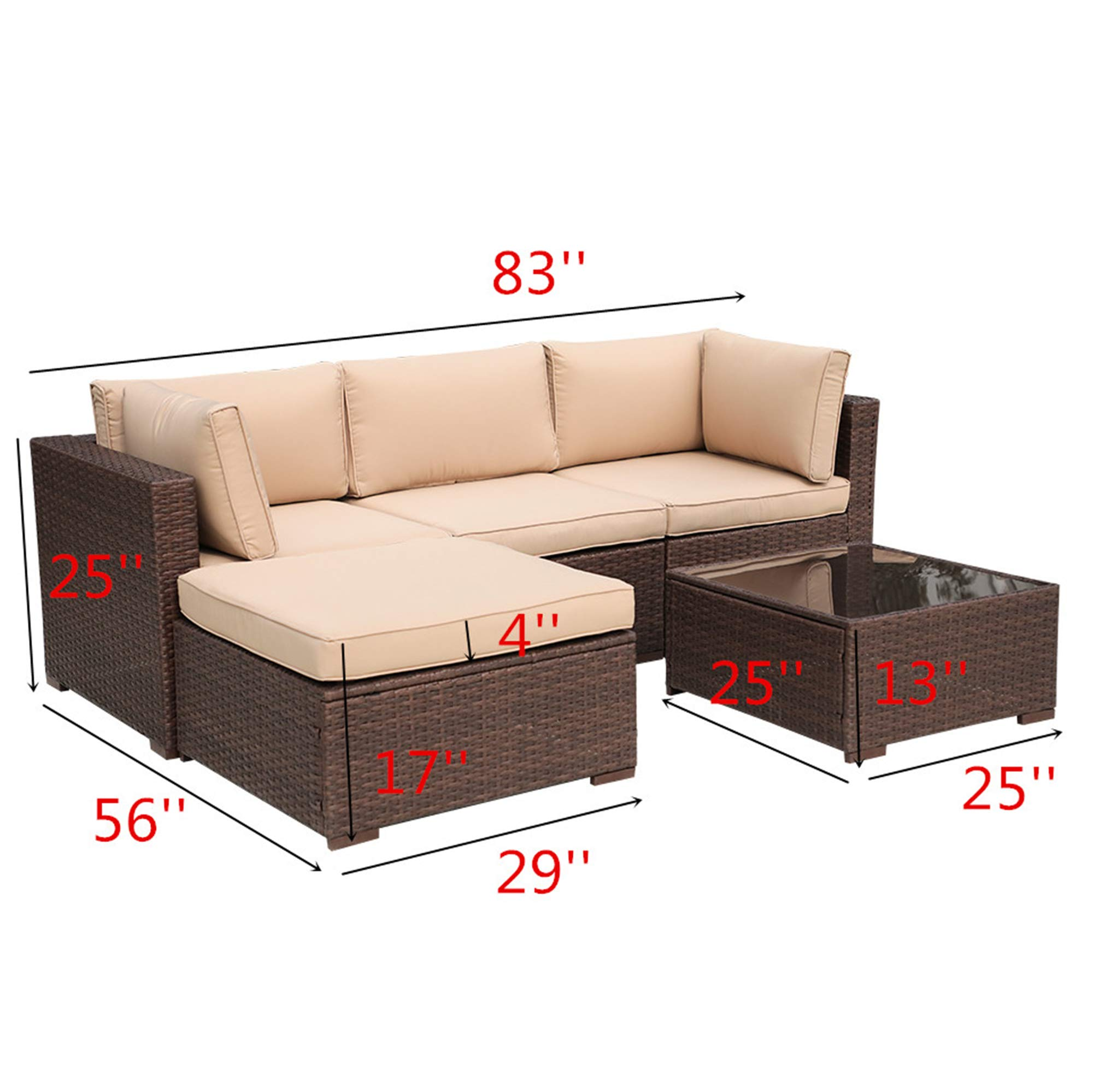 Patiorama Outdoor Furniture Sectional Sofa Set (5-Piece Set) All-Weather Brown PE Wicker with Beige Seat Cushions &Glass Coffee Table| Patio, Backyard, Pool| Steel Frame by Patiorama (Image #3)
