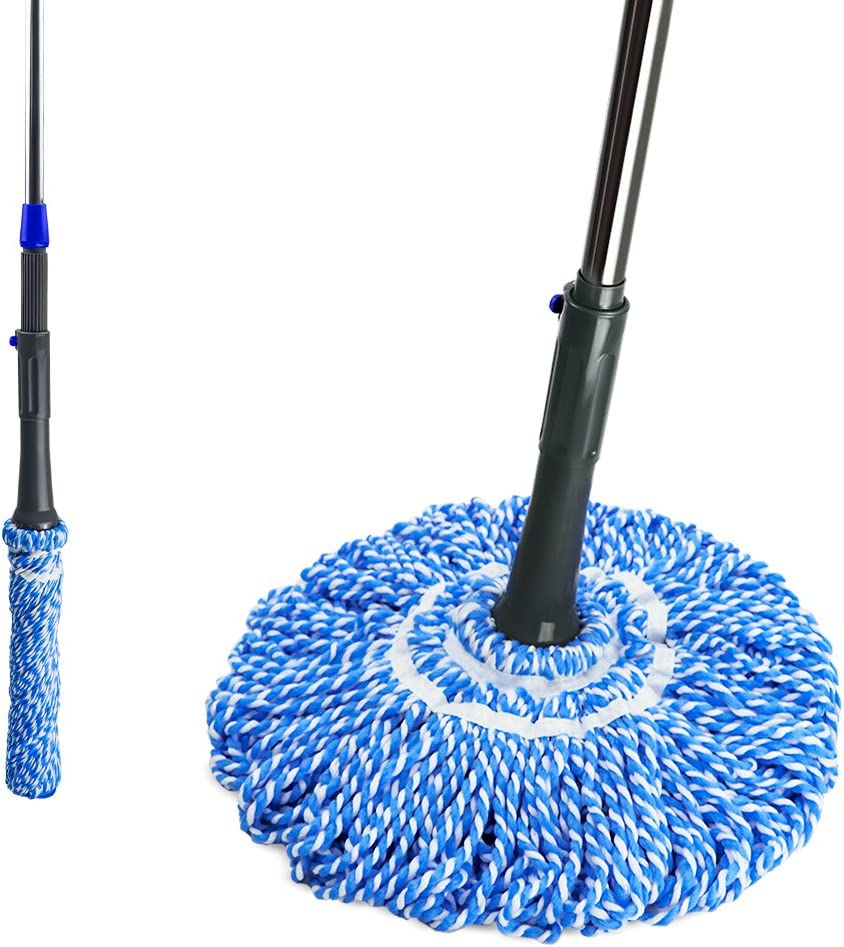 Microfiber Twist Mop Easy Self-Wringing Household Mop with Telescopic Stainless Steel Handle for Home Office Floors Cleaning