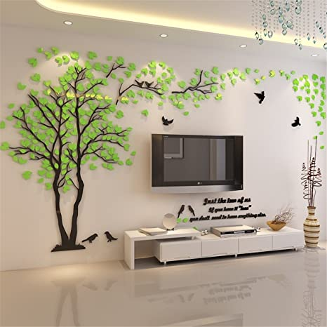 Kenmont DIY 3D Riesig Paar Baum Wandtattoos Wandaufkleber Kristall Acryl  Wandtattoo Aufkleber Vögel Vine Zweig Wandkunst Wohnzimmer Schlafzimmer ...