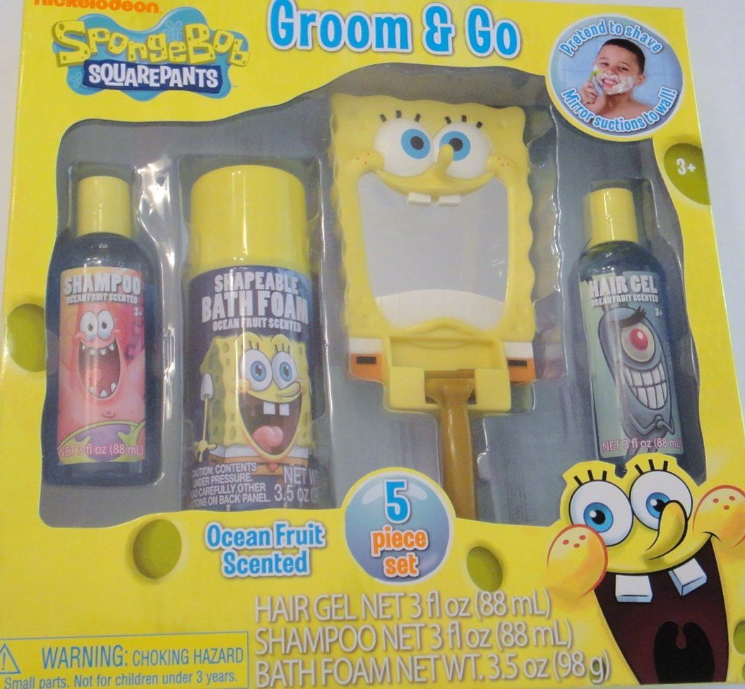 Spongebob squarepants bathroom accessories - Amazon Com Spongebob Squarepants Groom Go 5 Piece Bath Set Shampoo Bath Foam Hair Gel Mirror Play Razor Toys Games