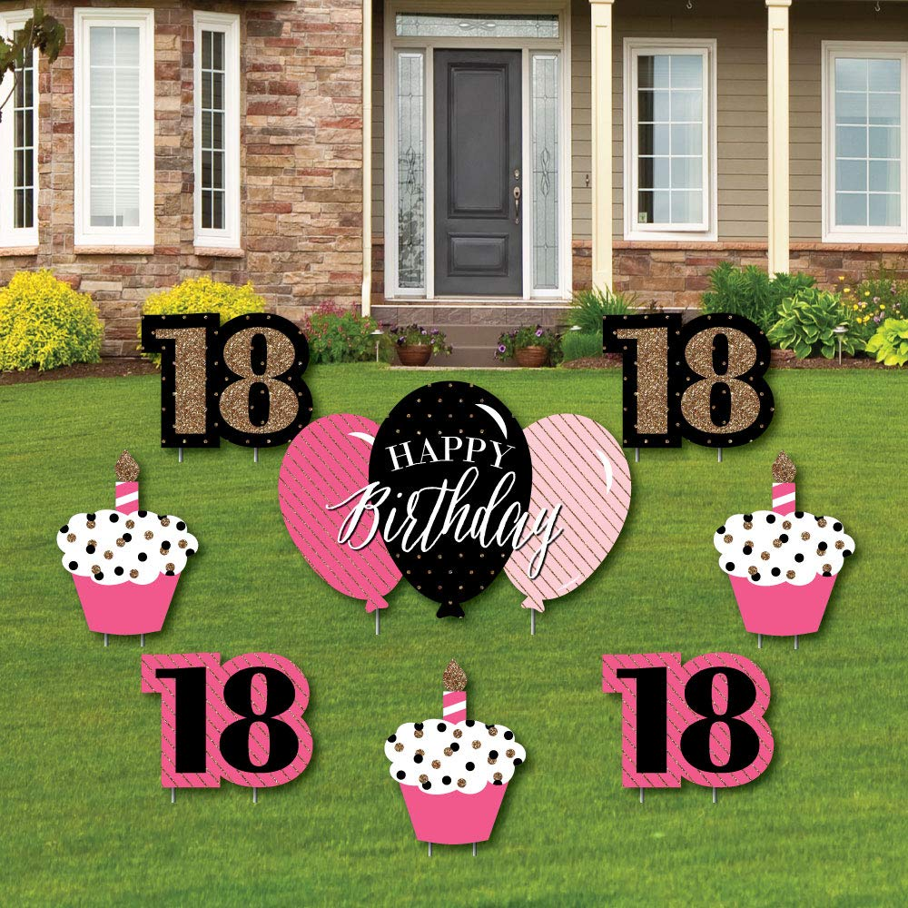 Chic 18th Birthday - Pink, Black and Gold - Yard Sign & Outdoor Lawn Decorations - Birthday Party Yard Signs - Set of 8
