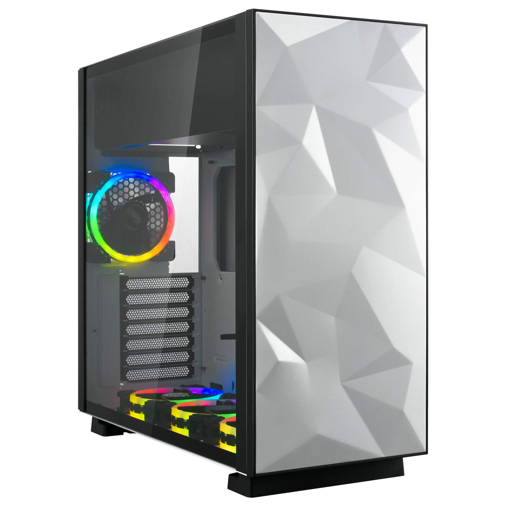 Rosewill ATX Mid Tower Gaming Computer Case with Tempered Glass and RGB Fans, Up to 240mm AIO and 440mm VGA Support, Sync with ASUS, MSI, and Gigabyte MOBO, Top Mount PSU & HDD/SSD - Prism S by Rosewill
