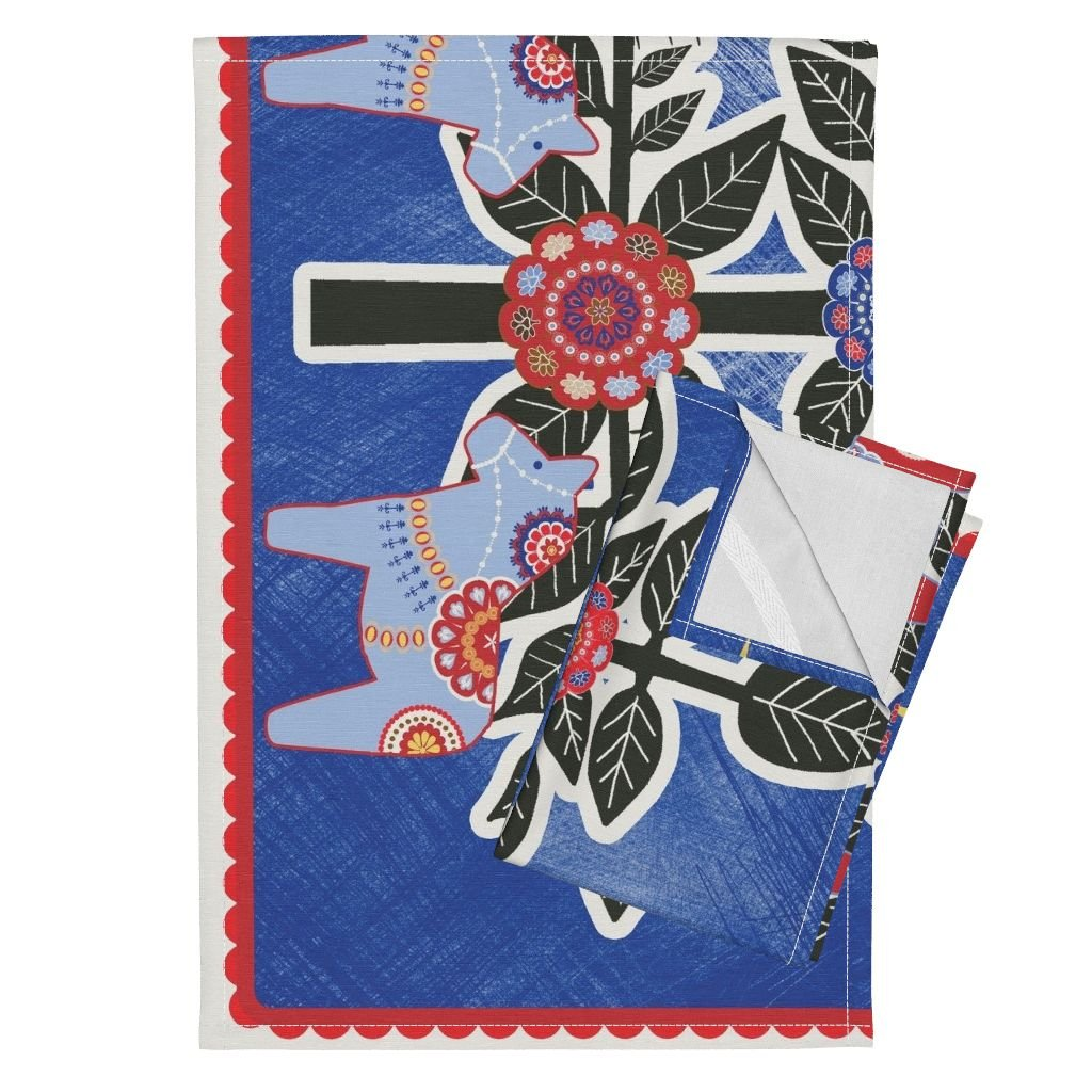 Roostery Wall Hanging Tea Towels Sapin De Noel Mural Nuit by Nadja Petremand Set of 2 Linen Cotton Tea Towels