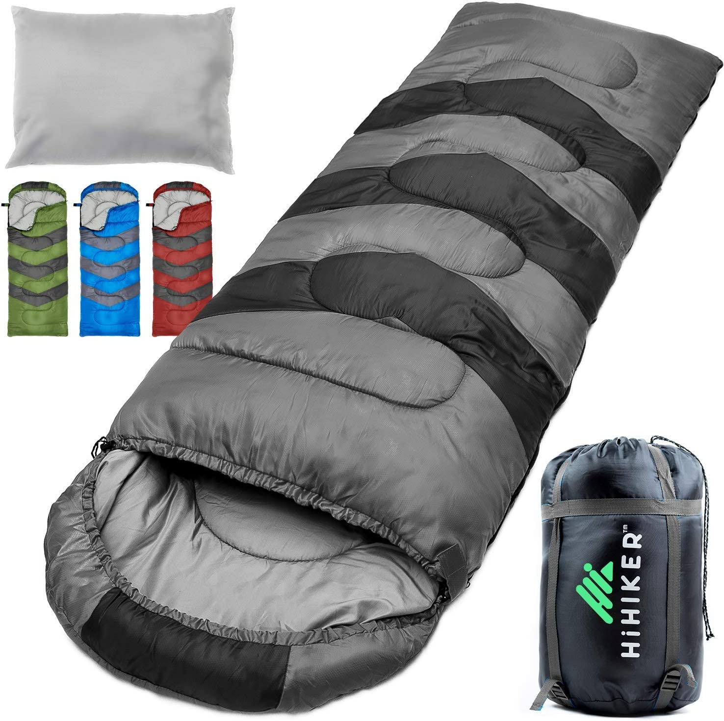 Lightweight Warm and Washable Travel Pillow w//Compact Compression Sack 4 Season Sleeping Bag for Adults /& Kids HiHiker Camping Sleeping Bag for Hiking Traveling.