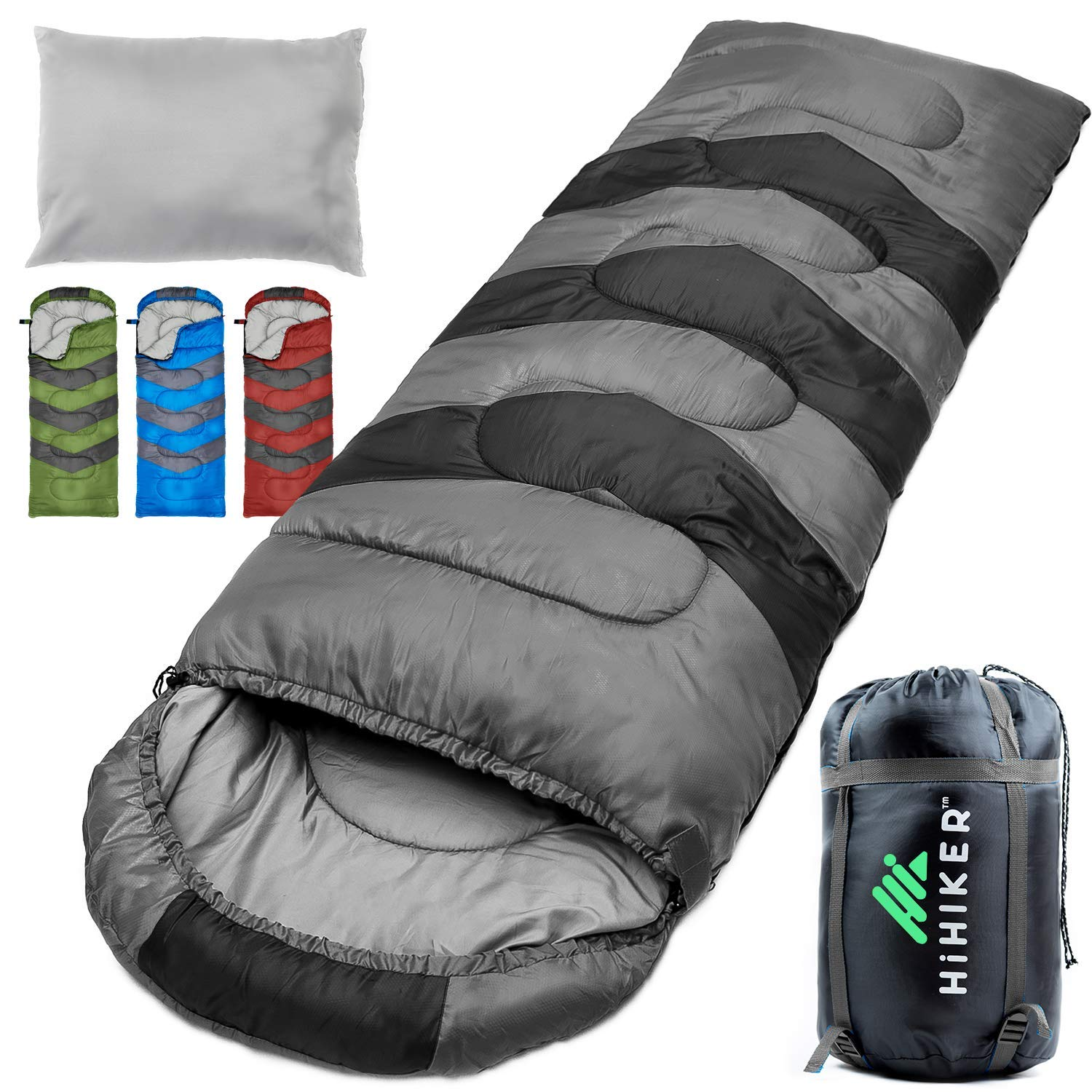 HiHiker Camping Sleeping Bag + Travel Pillow w/Compact Compression Sack - 4 Season Sleeping Bag for Adults & Kids - Lightweight Warm and Washable, for Hiking Traveling & Outdoor Activities (Gray) by HiHiker